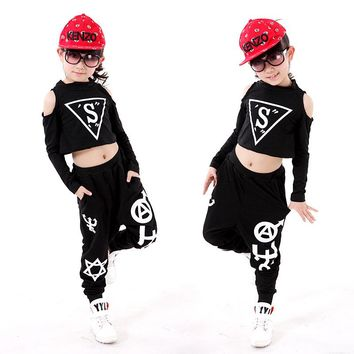 Top+pants Children Hip-Hop Dance Costume Girl Jazz Dancing Clothing Kids DS Dance Costume for Stage School Uniform Sets 89