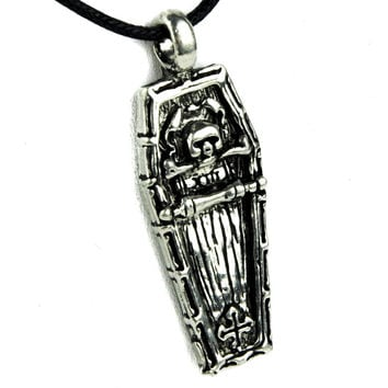 Skull Coffin Necklace Gothic Jewelry