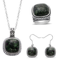 Ruby Zoisite Ring (Size 6), Earrings & Pendant With Chain (20 in) in SS