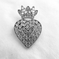 Rhinestone Heart and Crown Brooch Lisner Wedding Bride Royal Elegance Princess Pin