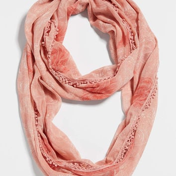 lightweight infinity scarf in butterfly print with crocheted pompom trim | maurices