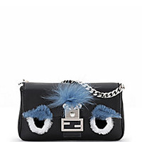 Fendi - Micro Leather, Rabbit Fur & Fox Fur Buggie Baguette - Saks Fifth Avenue Mobile
