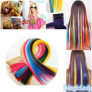 2PCS 8 Colors Fashion Women Multi-colors Synthetic Straight Hair Extensions Hair Pieces Accessories