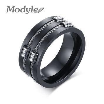 Modyle 2016 New Punk Rock Ring Fahsion Stainless Steel Party Jewelry Cool Wire Rings For Men