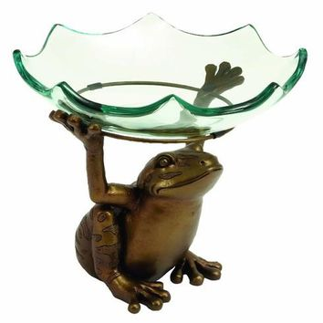 Benzara Home decor Scallop Glass Bowl on top of Standing Frog Design