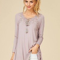 Anything Is Possible Mocha Brown Lace Long Sleeve Tunic Top