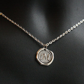 Initial Necklace, Monogrammed Personalized Jewelry, Alphabet Pendant, Stamped Necklace, Wax Seal Necklace, Unisex Gift, Sterling Chain