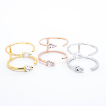 Double dainty stone ring
