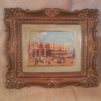 Vintage Turner Wall Accessory/Framed picture of Venice with molded plastic in baroque pattern