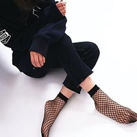 2017 Spring Summer Women's Fashion Fish Net Socks Black Holow Out Socks