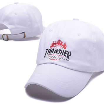 White THRASHER Snapback Baseball Cao Hat