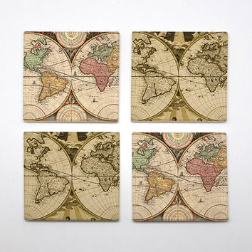 COA-007 - Set of 4 Ceramic Coasters - World Map - City Maps - Map Art - Maps Of Cities  - Vintage & Wanderlust theme - by HeartOnMyFingers