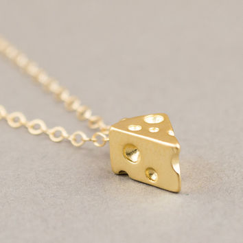 Gold Cheese Necklace / Food Necklace / Tiny Charm Necklace / Gold Filled / Novelty Necklace / Quirky Necklace / Modern Minimalist Jewelry