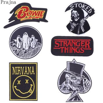 Prajna Sewing Stranger Things Nirvana Viking Patch Iron On Embroidered Patches For Clothes Applique Bowie Patch Sticker Badge