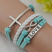 Cross Love infinity Antique Silver Korea Velvet Leather Cute Charm Bracelet B081
