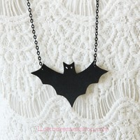 Lolita Halloween Simple Fashion Wild Black Bat Sweater Chain
