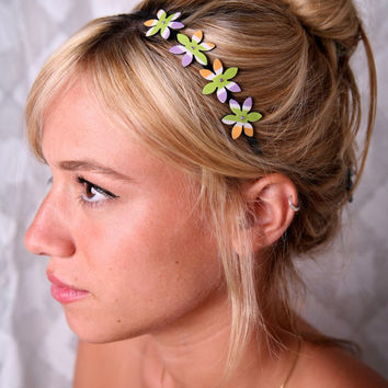 Colorful headband, Girl flower Headband, Girl Hair Accessory, Girl Headband, colorful accessories, headbands for girls, metal headbands girl