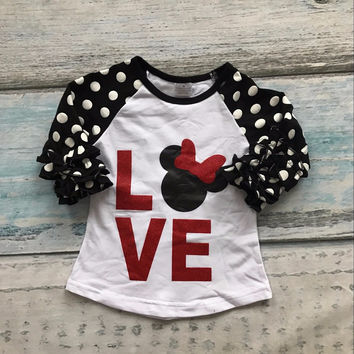 Three quarter cotton boutique cute top T-shirt raglans clothing ruffles polka dot love minnie mouse Baby Clothing
