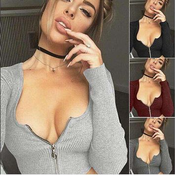 Hot style v-neck chest zipper sexy waist female T-shirt coat jacket that show hilum