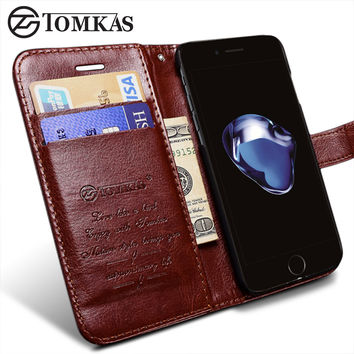 TOMKAS Case For iPhone 7 / 7 Plus Wallet Flip Leather With Stand Phone Bag Cover For Apple iPhone 7 Plus Cases Coque Original