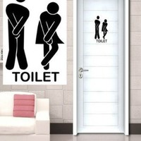 Funny Toilet Entrance Sign Decal Vinyl Sticker for Shop Office Home Cafe Hotel:Amazon:Home Improvement