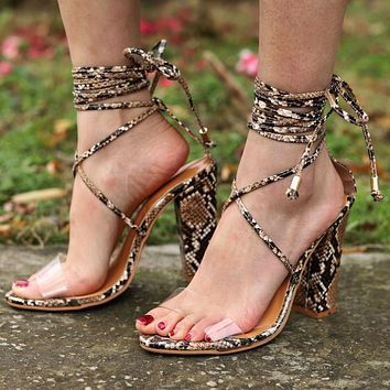 Fashion Women Classic High-Heel Strapping Large-Size Sandals High-Heeled Shoes Coffee Serpentine