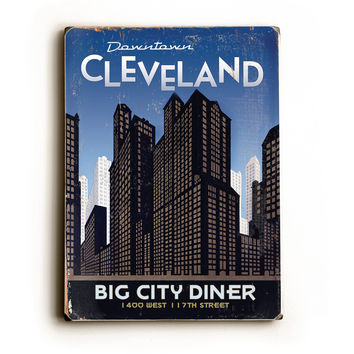 Personalized Cleveland Big City Diner Wood Sign