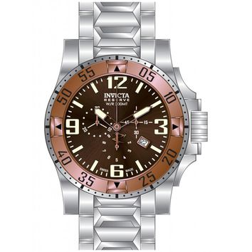 Invicta 80557 Men's Excursion Chronograph Brown Dial Rose Gold Bezel Steel Dive Watch