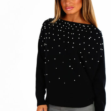 Cold Outside Black Pearl Batwing Jumper
