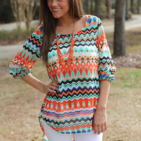 Hi Lo Geo Top, Orange/Mint