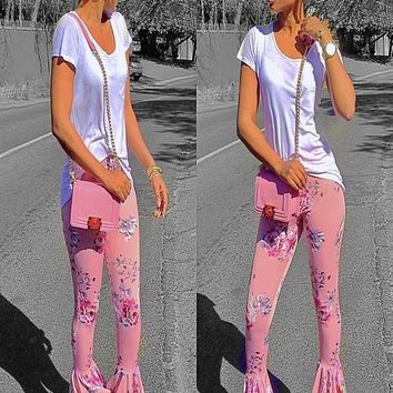 Pink Floral Print Cascading Ruffle High Waisted Fashion Long Flare Pants