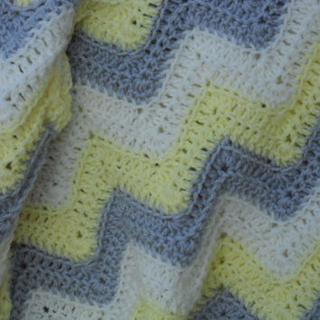 Sale Light Gray, Pale Yellow and White Chevron Blanket Zig Zag Throw Ripple Afghan Decor