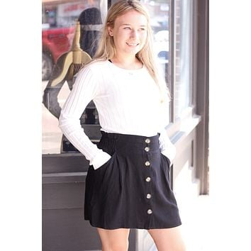 Black Linen Blend Button Front Skirt