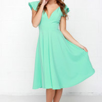 Skirts So Good Mint Green Midi Dress