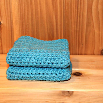Sky blue crochet washcloths/dishcloths set of 2