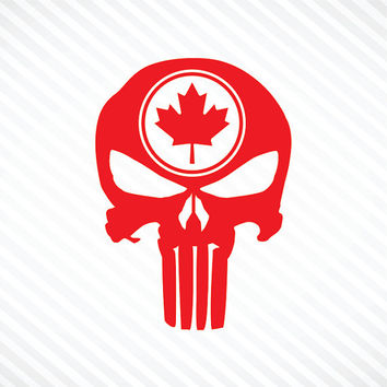 Punisher Skull Maple Leaf Vinyl Decal Bumper Sticker Canada Maple Leaf Sticker Canadian Flag Sticker Motorcycle Sticker Truck Car Window