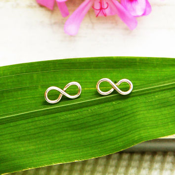 Stud earrings, infinity earrings, silver post earrings, small post earrings, infinity jewelry, everyday stud earrings, gift for her