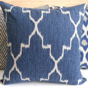 Modern navy moroccan ikat decorative pillow cover, accent pillow, throw pillow