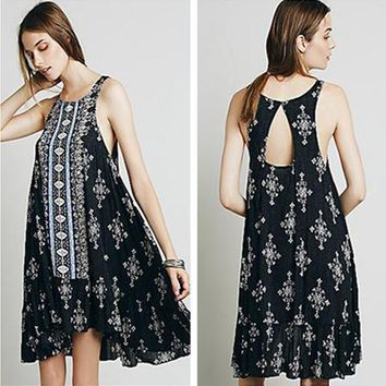 Free People Fashion Retro Totem Print Frills Backless Sleeveless Vest Mini Dress