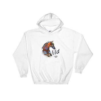 Wild Horse Hooded Sweatshirt, Original Watercolor by Deja Wolfe