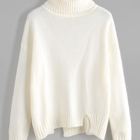 White Roll Neck Drop Shoulder Sweater