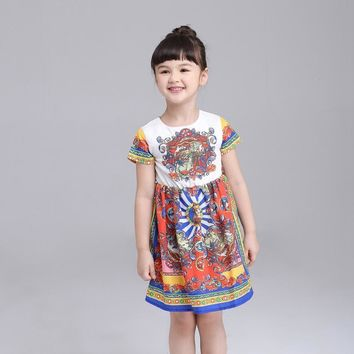 Baby Bohemian Printed Toddler Girl Dress A-Line Princess Dresses Kids Clothes Robe Fille Enfant