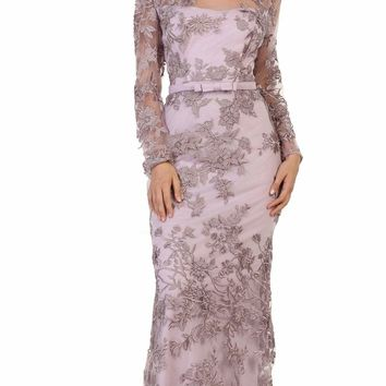 May Queen - Floral Lace Illusion Bateau Sheath Evening Dress