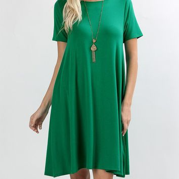 Pocket Short Sleeve Knit Dress - Kelly Green