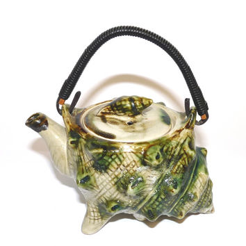 Teapot, Conch Shell, Tea Pot, Textured, Japanese, Majollica, Green, Mid Century, pottery, ceramic