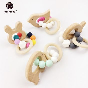 Buy Top of the Line! Organic wood with silicone beads to entertain your baby! Seven animal shapes!