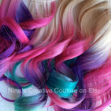 "Tie Dye, Ombre Hair Extensions, Blonde hair with Purple, Pink, Turquoise, Full Set Hair Extensions 18"" (7 Pieces)"