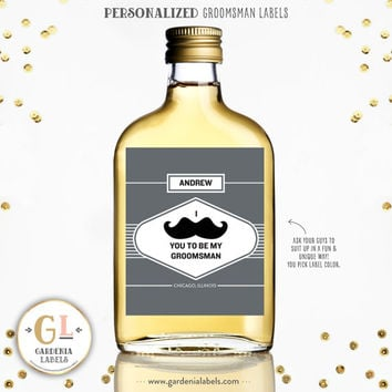 Best Man Mustache Liquor Label, Ask Groomsman, Groomsman Wine Label, Ask Usher, Best Man Idea, Custom Label, Personalized Best Man Gift
