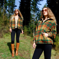 60's Plaid Wool Jacket Hoodie Hockey Jac Lakeland Sportswear Green Rust Yellow Plaid Hooded Sherpa Jacket 70s Bomber Jacket Fall Winter Coat