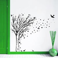 Wall Decal Tree Leaves Birds Autumn Design Gone With The Wind Wall Decals Children Baby Room Bedroom Nursery Living Room Home Decor 3919